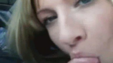 Beautiful Blonde Teen Sucks Cock in a Car