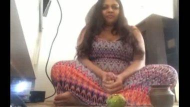 Fatty aunty sits naked for masturbation