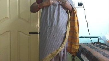 desi indian tamil telugu kannada malayalam hindi horny cheating wife vanitha wearing grey colour saree showing big boobs and shaved pussy press hard