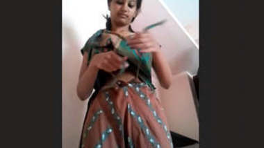 Cute girl wearing salwar after fucking session