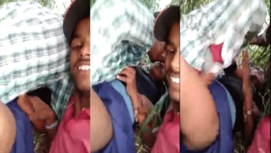 Young lovers group sex in an open field MMS video