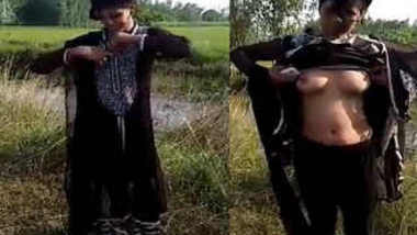 Desi female has her XXX own needs going outdoors for stripping