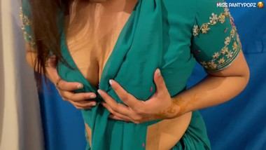 Late On The Rent Anal! Hot Desi caught by Landlord in her Green Saree x