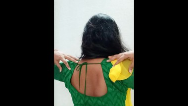 Newly married bhabhi showing her sexy figure and fingering her hairy pussy