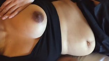Comely Desi chick with nice XXX tits strokes and sucks partner's penis